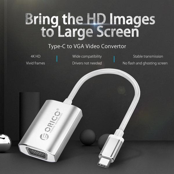 Orico Aluminium USB-C naar VGA Adapter – 4K Ultra HD – 1080P@60Hz - voor MacBook, Mi NoteBook Air, Huawei MateBook en Lenovo YOGA – Mac Style – 15CM Kabel – Zilver