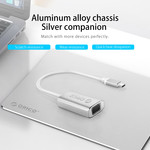 Orico Aluminum USB-C to VGA Adapter - 4K Ultra HD - 1080P @ 60Hz - for MacBook, Mi NoteBook Air, Huawei MateBook and Lenovo YOGA - Mac Style - 15CM Cable - Silver