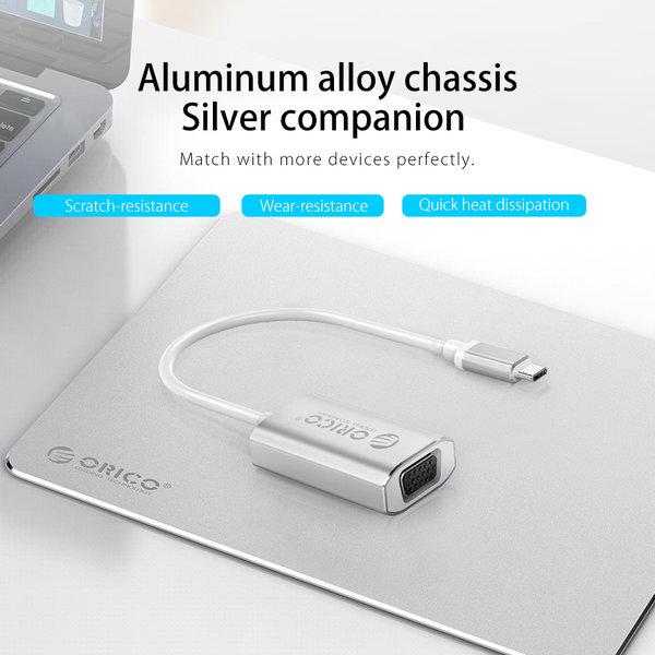 Orico Adaptateur USB-C vers VGA en aluminium - 4K Ultra HD - 1080P @ 60Hz - pour MacBook, Mi NoteBook Air, Huawei MateBook et Lenovo YOGA - Style Mac - Câble 15CM - Argent