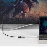 Orico Adaptateur USB-C vers DisplayPort en aluminium - 4K Ultra HD @ 60Hz - pour MacBook, Mi NoteBook Air, Huawei MateBook et Lenovo YOGA - Style Mac - Câble 15CM - Argent