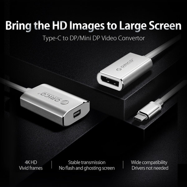 Orico Aluminum USB-C to DisplayPort Adapter - 4K Ultra HD @ 60Hz - for MacBook, Mi NoteBook Air, Huawei MateBook and Lenovo YOGA - Mac Style - 15CM Cable - Silver