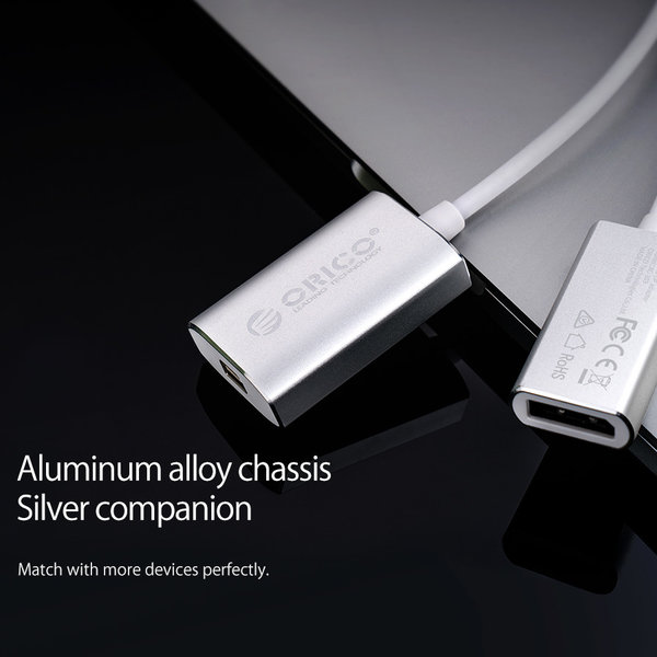 Orico Adaptateur USB-C vers Mini DisplayPort en aluminium - 4K Ultra HD @ 60Hz - pour MacBook, Mi NoteBook Air, Huawei MateBook et Lenovo YOGA - Style Mac - Câble 15CM - Argent