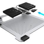 Orico Multifunctionele aluminium laptopkoeler / laptophouder met ventilatoren - Warmtegeleiding, Kabelmanagement en Ergonomische houding - 21dB - voor Laptops tot 15 Inch - Mac Style - Zilver