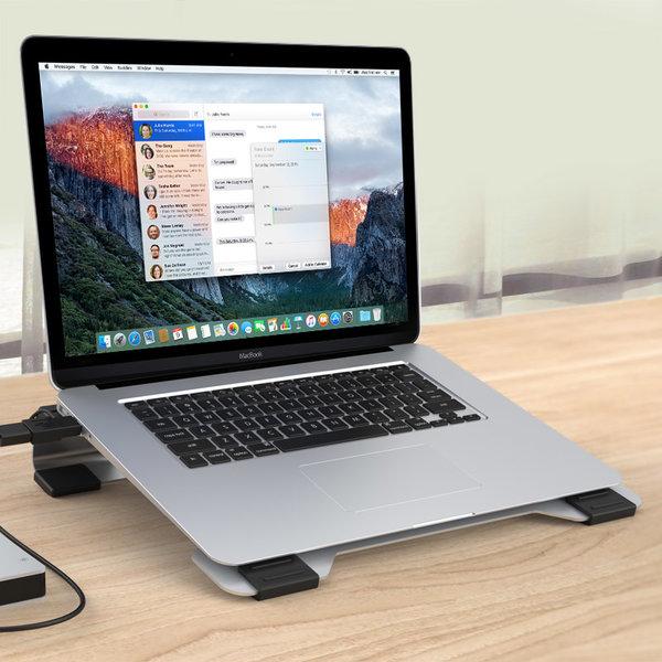 Orico Refroidisseur / support d'ordinateur portable multifonctionnel en aluminium avec ventilateurs - Conduction thermique, gestion des câbles et posture ergonomique - 21 dB - pour ordinateurs portables jusqu'à 15 pouces - Style Mac - Argent