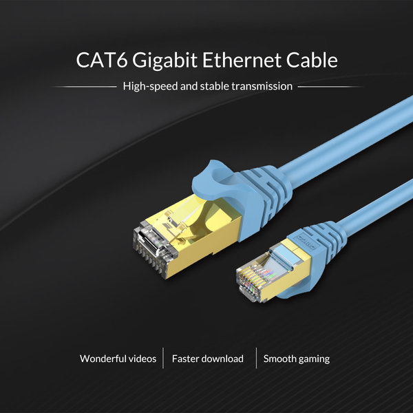Orico RJ45 Gigabit Ethernet cable - CAT6 - 1000Mbps - Round cable of 1 meter long - Suitable for router, exchanger, hub etc. - Gold plated pin - Blue