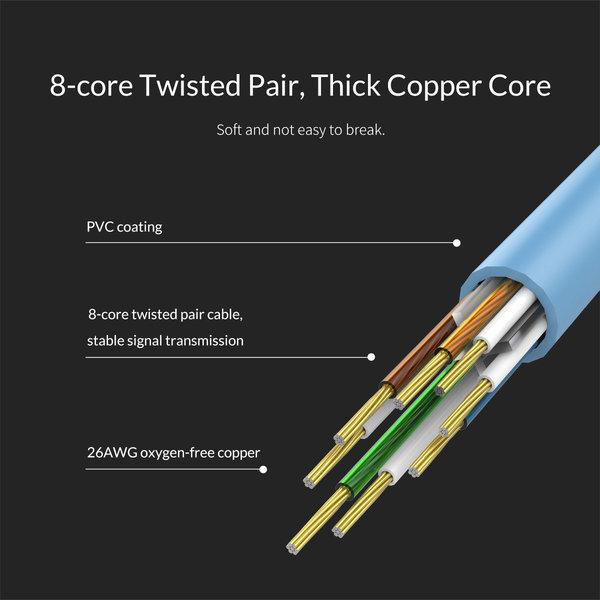 Orico Câble Ethernet CAT6 1 mètre - bleu - câble rond
