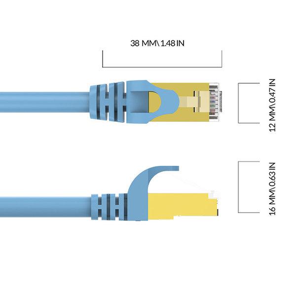 Orico Câble Ethernet RJ45 Gigabit - CAT6 - 1000Mbps - Câble rond de 2 mètres de long - Convient pour un routeur, un échangeur, un concentrateur, etc. - Broche plaquée or - Bleu