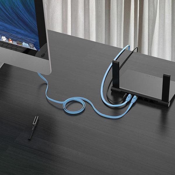 Orico  RJ45 Gigabit Ethernet kabel – CAT6 – 1000Mbps – Platte kabel  van 1 meter lang – Geschikt voor o.a. router, exchanger, hub etc. -  Goud vergulde pin – Blauw
