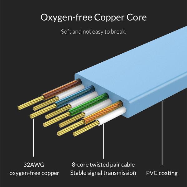 Orico Ethernet-Kabel CAT6 - 1 Meter - Blau - Flachkabel