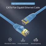 Orico RJ45-Gigabit-Ethernet-Kabel - CAT6 - 1000 Mbit / s - 10 Meter langes Flachkabel - Geeignet für Router, Wärmetauscher, Hub usw. - Vergoldeter Stift - Blau