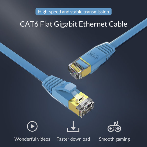 Orico Ethernet cable CAT6 - 10 meters - blue - flat cable