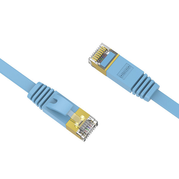 Orico RJ45 Gigabit Ethernet cable - CAT6 - 1000Mbps - Flat cable of 10 meters long - Suitable for router, exchanger, hub etc. - Gold plated pin - Blue