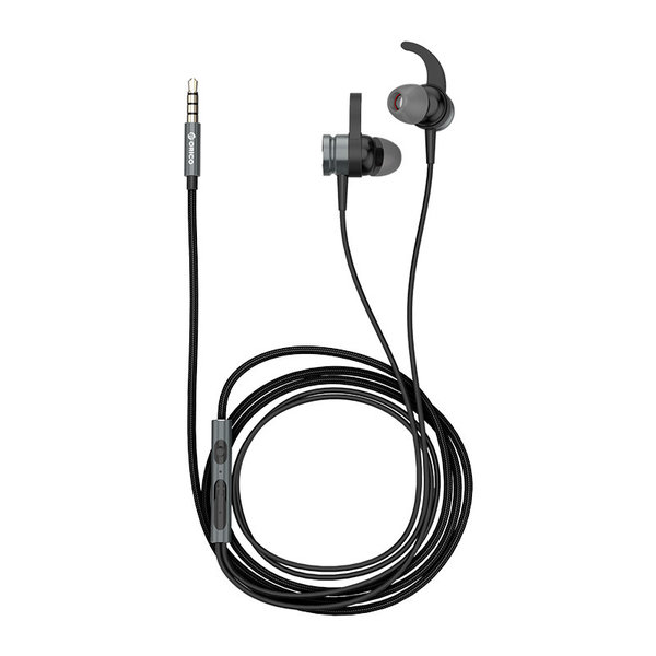 Orico In-ear Soundplus sport headset - headphones / earphones with microphone, control button and volume control - 3.5mm jack - High audio resolution - Length 1.2M - Woven mesh wire - Black