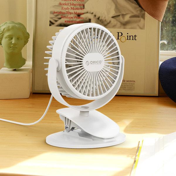 Orico Mini USB ventilator met clip-on functie - 360 graden te draaien - 1.5W - <35dB -Incl. type-A naar Micro B kabel van 1M - Wit