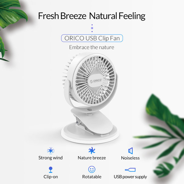 Orico Mini USB fan with clip-on function - rotates 360 degrees - 1.5W - <35dB -Incl. type-A to Micro B cable of 1M - White