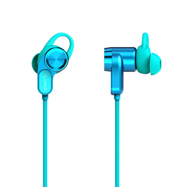 Orico Bluetooth In-ear sport headset / headphones with volume control, microphone and control button - Bluetooth 5.0 + EDR - 10 meter range - 110mAh - Waterproof - Dustproof - Incl. charging cable - Blue
