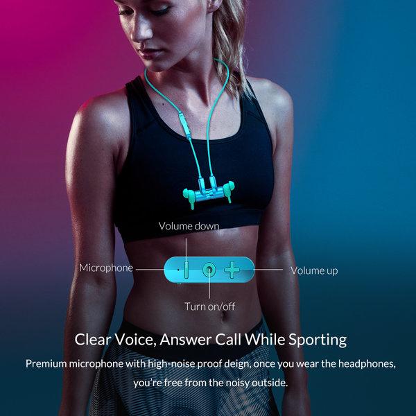 Orico Oreillette / casque de sport Bluetooth avec contrôle du volume, microphone et bouton de commande - Bluetooth 5.0 + EDR - Portée de 10 mètres - 110mAh - Étanche - Antipoussière - Incl. câble de charge - Bleu