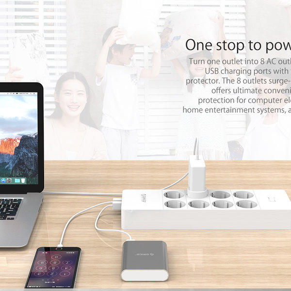 Orico power strip with eight sockets and five USB charging ports - Incl. on / off switch and over voltage protection - White