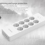 Orico prise avec huit prises et cinq ports de charge USB - Incl. interrupteur marche / arrêt et protection contre les surtensions - blanc