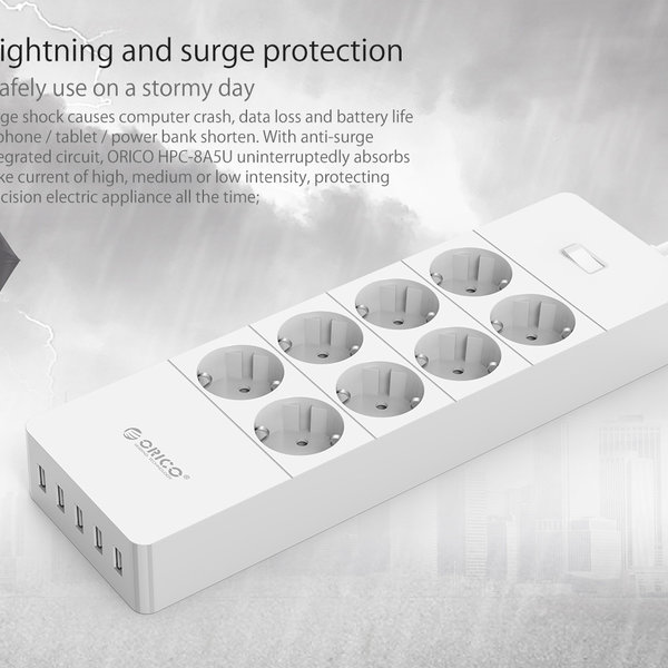 Orico socket with eight sockets and five USB charging ports - Incl. on / off switch and overvoltage protection - white