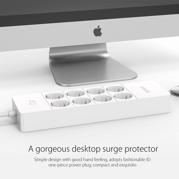 Orico stekkerdoos met acht stopcontacten en vijf USB-laadpoorten -  Incl. aan/uit schakelaar en overspanningsbeveiliging - Wit