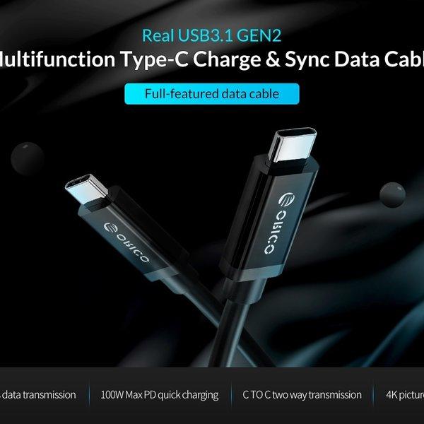Orico USB3.1 Gen 2 Type-C naar Type-C Data- en laadkabel - 10Gbps - Power Delivery 100W - 4K resolutie - E-Mark chip - 1 meter - Zwart