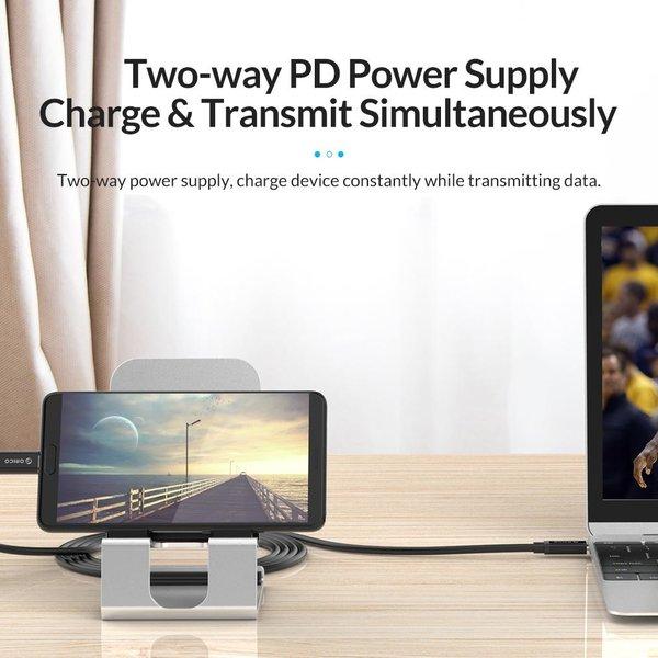 Orico Câble de données et de charge USB3.1 Gen 2 Type-C vers Type-C - 10 Gbit / s - Alimentation 100 W - Résolution 4K - Puce E-Mark - 1 mètre - Noir