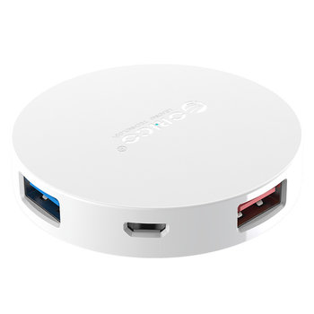 Orico Round USB 3.0 hub with 4 USB-A ports - OTG function - White