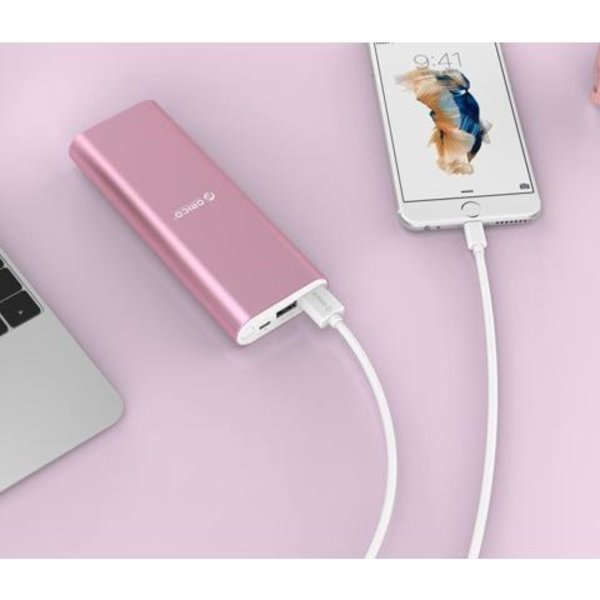 Orico Aluminum Power Bank 20000mAh - 2x Smart Charge USB charging ports - Pink