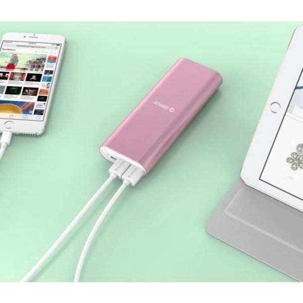 Orico Aluminium Power Bank 20000mAh - 2x Smart Charge USB-Ladeanschlüsse - Pink