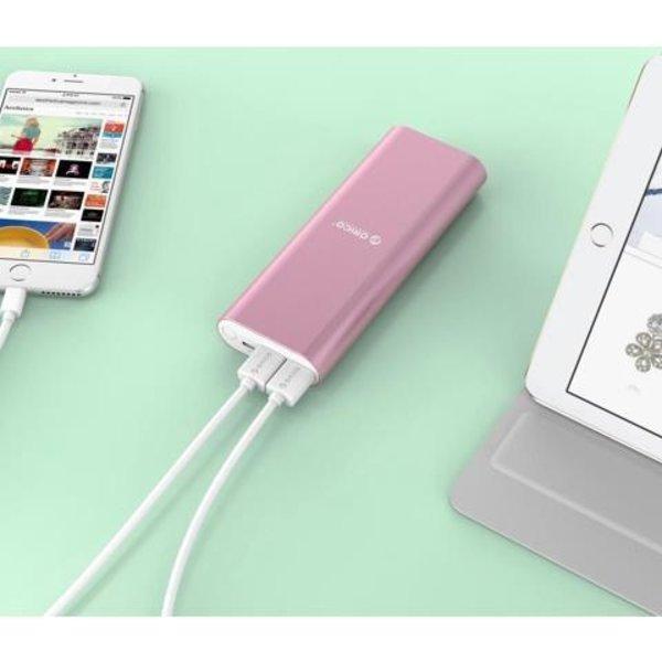 Orico Aluminum Power Bank 20000mAh - 2x Smart Charge USB charging ports - Pink