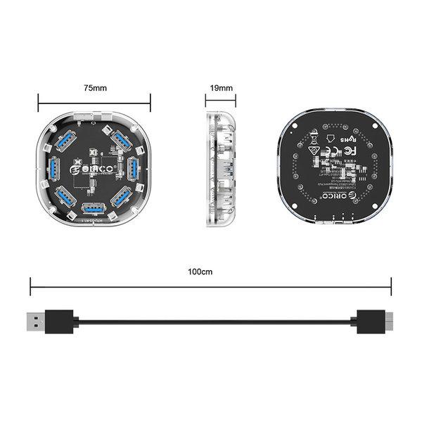 Transparenter USB 3.0-Hub - 7 Anschlüsse