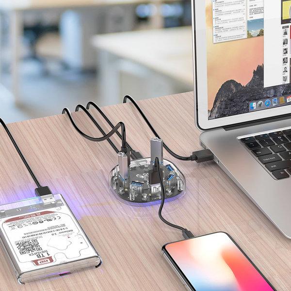 Transparenter USB 3.0 Hub mit 7 USB-Anschlüssen