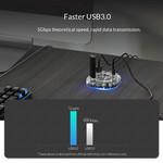 Hub USB 3.0 transparent avec 7 ports USB
