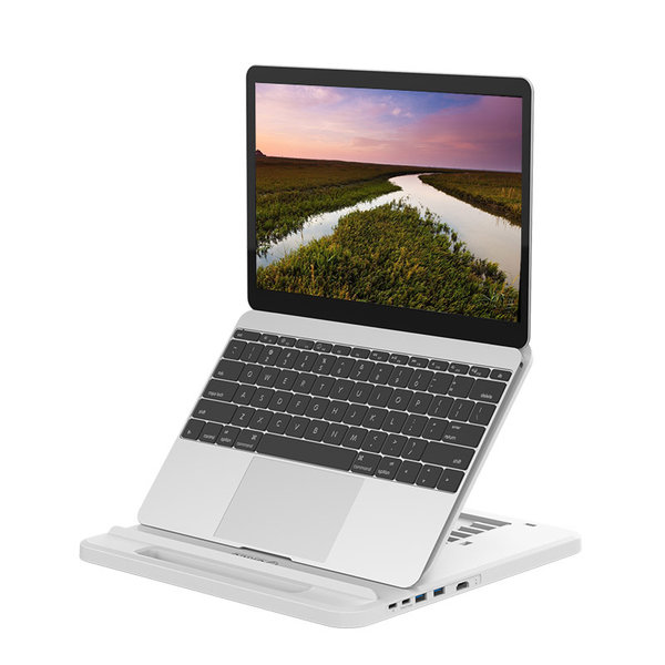 Orico Hub / laptop stand with USB 3.0 ports, 4K HDMI and USB-C PD - White