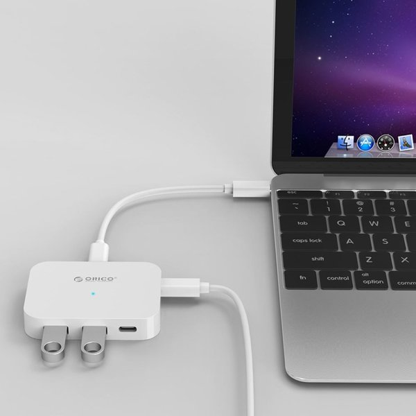 Orico USB3.0 type-C hub to 2 x USB-A and 2x USB-C - White