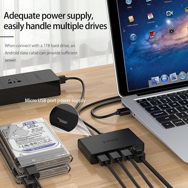 Orico Orico USB 3.0 Hub mit 3 USB-A-Anschlüssen und Gigabit-Ethernet-Anschluss