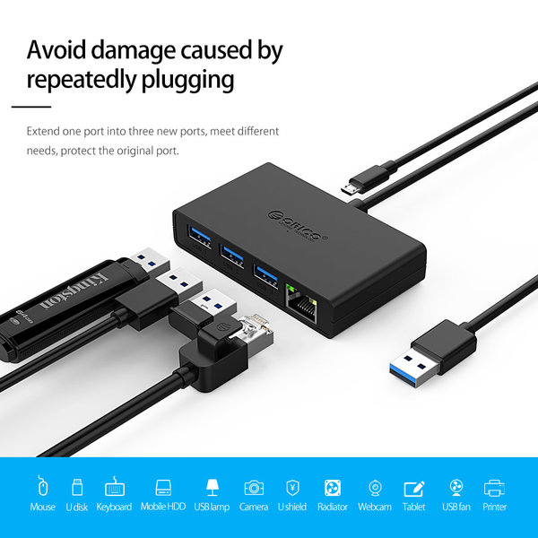 Orico Orico USB 3.0 hub with 3 USB-A ports and Gigabit Ethernet port