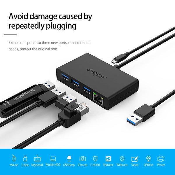 Orico USB Hub mit 3 Ports und Ethernet Port
