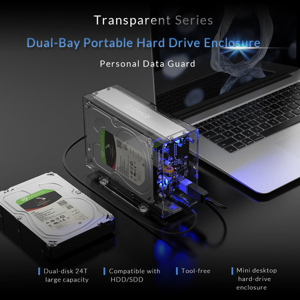 Orico Dual bay HDD behuizing transparant voor 2x 3.5 inch schijf