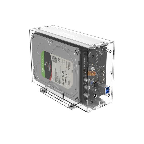 Orico Boîtier de disque dur à deux baies transparent pour 2 disques de 3,5 pouces