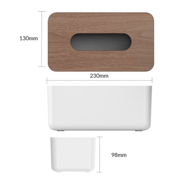 Orico Tissue box holder with wood look - Durable - White / wood