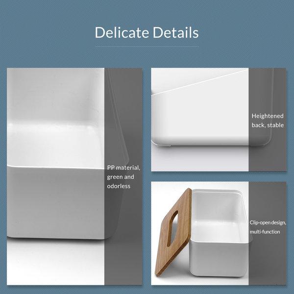 Orico Porte-boîte à mouchoirs aspect bois - Durable - Blanc / bois