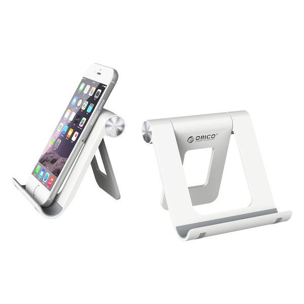 Orico Smartphone en tablet standaard voor op bureau - 360 graden draaibaar - wit / zwart