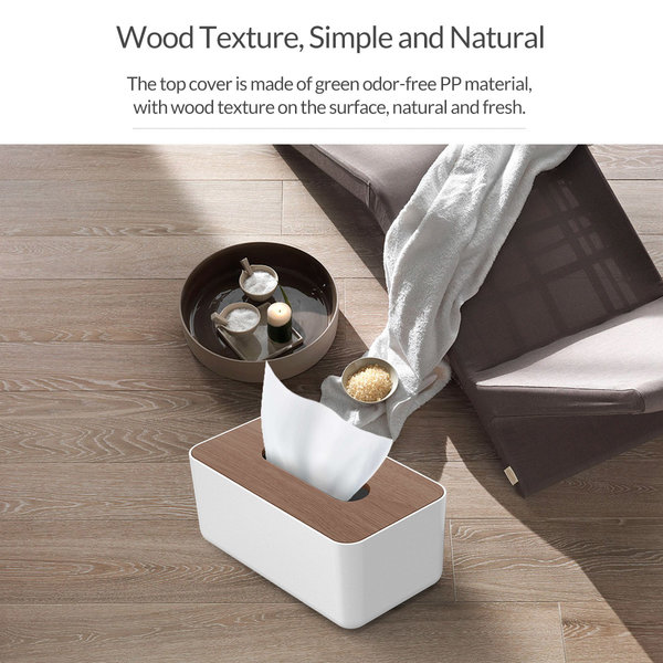 Orico Taschentuchhalter in Holzoptik - Langlebig - Weiß / Holz