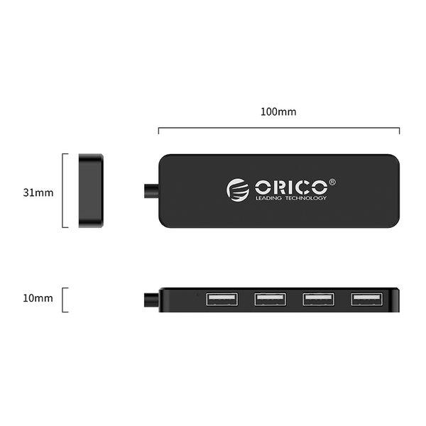 Orico USB 2.0 Hub met 4 USB A poorten - extra dun - zwart