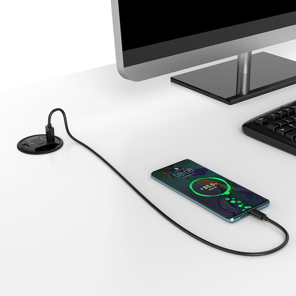 Orico Inbouw-hub voor bureau - 2x USB3.0, 1x USB-C, 2x audio - zwart