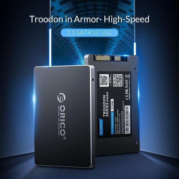 Orico SSD interne 2,5 pouces 512 Go - Série Troodon - Flash NAND 3D - Gris ciel