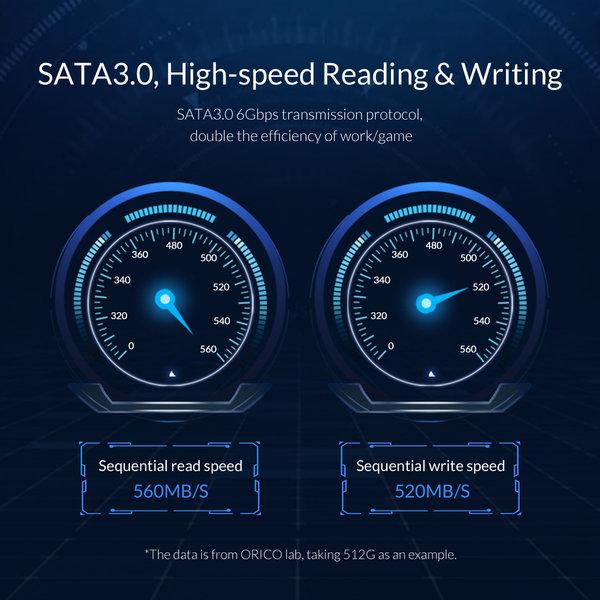 Orico 2,5 Zoll interne SSD 512 GB - Troodon-Serie - 3D-NAND-Blitz - Himmelgrau