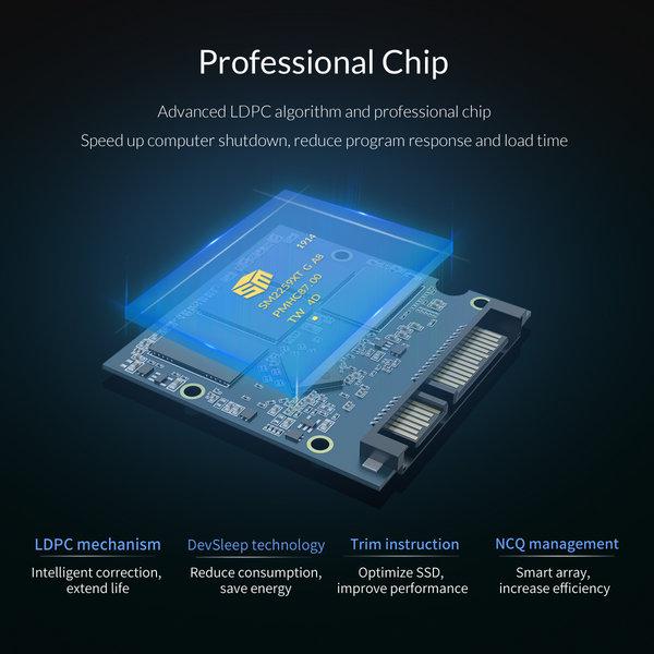 Orico SSD interne 2,5 pouces 1 To - Série Troodon - Flash NAND 3D - Gris ciel